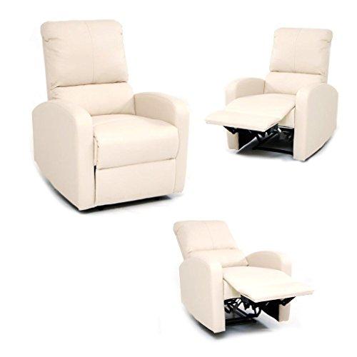 Poltrona relax Camilla Crema con reclinazione manuale e poggiapiedi