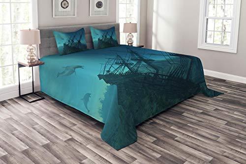 ABAKUHAUS Nautisch Tagesdecke Set, Dolphins Schiff Sea, Set mit Kissenbezügen Kein verblassen, für Doppelbetten 264 x 220 cm, Blaugrau Hellblau Teal