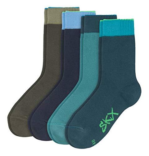 Skechers Boys Socken Basic 4er Pack Jungen Größe 27-30 farbig grün türkis weicher Ripp Bund