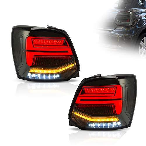 KAIRAY 1 Paar LED Rückleuchten Rücklicht Rücklichter Set für 2011-2017 Polo MK5 6R 6C TDI (braun)