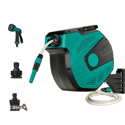 Tuinslanghaspel, 180 ° willekeurige rotatie, automatische herstelbeugel slang winkelwagen, 7 spuitmodi verstelbaar waterpistool, gebruikt voor irrigatie, auto wassen en vloer wassen.