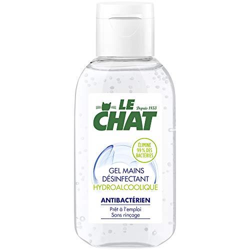 Le Chat - Gel Hydroalcoolique Mains - Désinfectant - Antibactérien - Sans Rincage - Elimine 99% de bactéries - Produit Virucide - Petit Format - Flacon de 50 ml