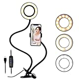 Selfie Ring Light with Cell Phone Holder for Live Stream / Makeup, 3 Color Modes Eye Protection Kids Desk Lamp Book Light, 360 ° Flexible Gooseneck for Clip on Reading Lights,LED Vanity Mirror Light