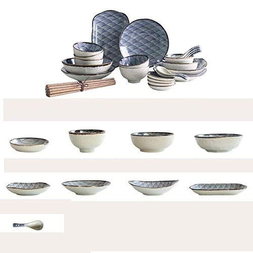 WCY Ondulado 32 Piezas Sopa Plato de Arroz Plate Set Vajilla, 32 Piezas Set (Color: 32 Piezas Set) yqaae (Color : 32 Pieces Set)