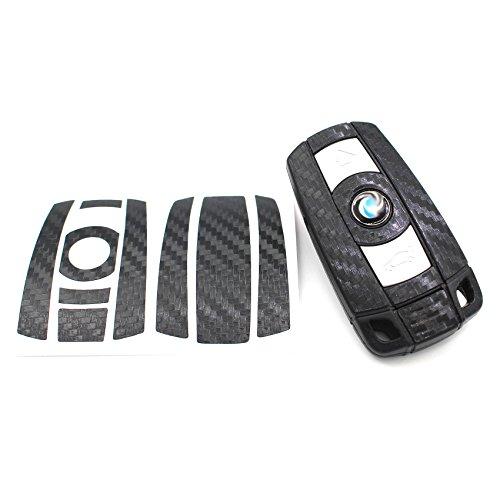 Finest-Folia Schlüssel Folie K141 für 3 Tasten Auto Schlüssel (nur Keyless Go) Folien Cover (Schwarz Carbon)