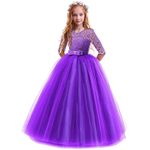 IBTOM CASTLE Spring Flower Girl Wedding Bridesmaid 3/4 Sleeves Kids Floral Lace Pageant Communion Princess Dress Prom Evening Dance Gown Eggplant Purple 11-12 Years