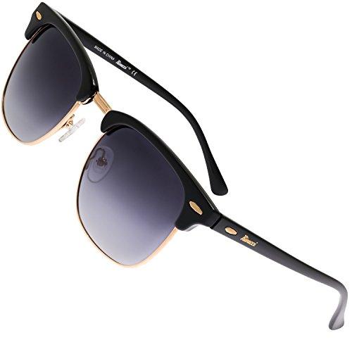 Rivacci Gafas de Sol de Moda Polarizadas - Marca Retro/Vintage – Lentes Deportivas – Dorado Negras/Graduadas Lavanda Polarizado