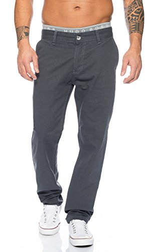 Rock Creek Herren Designer Chino Stoff Hose Chinohose Regular Fit Herrenhose Elegante Hosen Stoffhose Jeans Pants Chinohose RC-2083 Dunkelgrau W38 L32