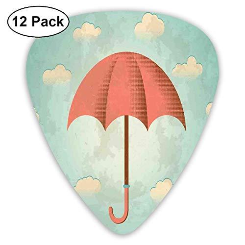Gitaar Picks12pcs Plectrum (0.46mm-0.96mm), Verouderde Vintage Samenstelling Met Wolken En Paraplu Grunge Look,Voor Uw Gitaar of Ukulele