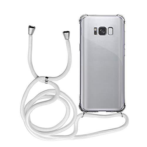 MyGadget Handykette für Samsung Galaxy S8 Plus TPU Hülle mit Handyband zum Umhängen - Handyhülle mit Band Halskette Kordel Schnur Case Schutzhülle - Weiß