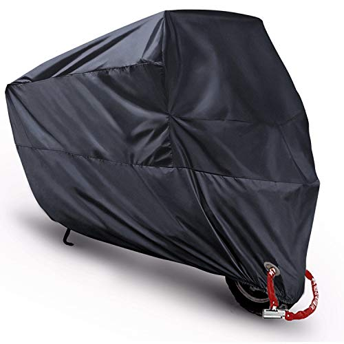 "MONOJOY Scooter Covers, Moped Cover Waterproof Motorcycle Prevent Rain Sun UV Dustproof for Any Season and Weather with Copper Lock Holes Rust Resistance and Buckle Black 78""x35""x39"" M"