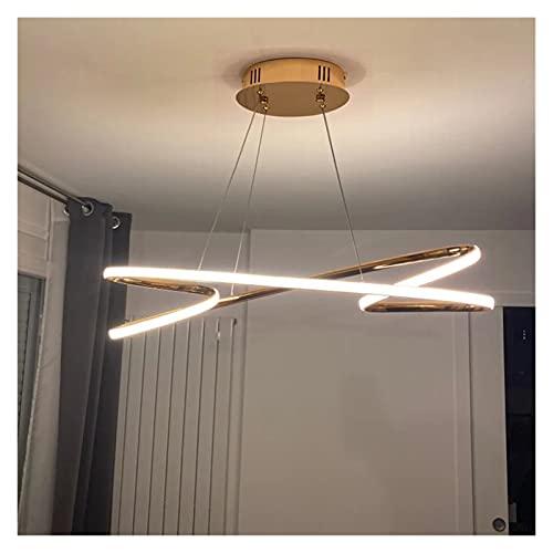 FIRMLEILEI candelabro Chandelier LED Moderno de Oro o Cromado para Comedor Cocina de Cocina Longitud de la Sala 800/1000mm Lámparas de araña Colgantes Decoración hogareña
