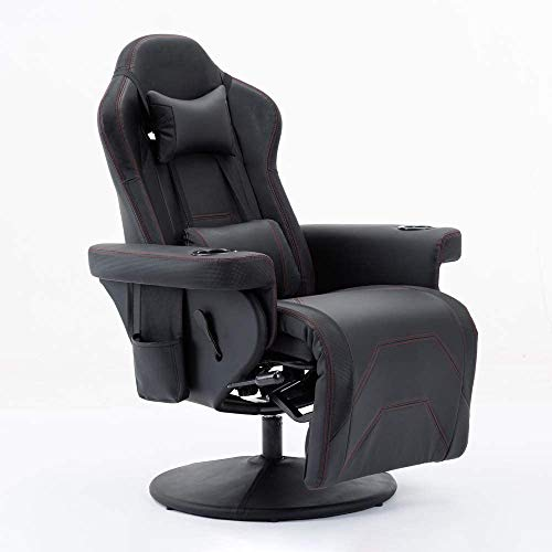 DKLGG Gaming Chair,Racing Chair Adjustable E-Sport Chair Headrest Lumbar Support Recline Up,Humanized Cup Holder Design Integrated Seat and Footrest Rotating Video Game Chair Living Room (Dark Black) chairs Dining Features Game Kitchen Video