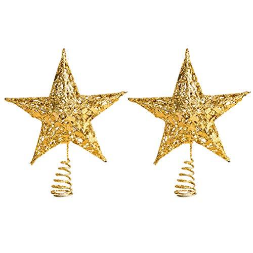 VOSAREA 2pcs Christmas Tree Top Star Stereoscopic Pentagram Treetop Decor Christmas Tree Ornament Party Supplies (Golden 25cm)