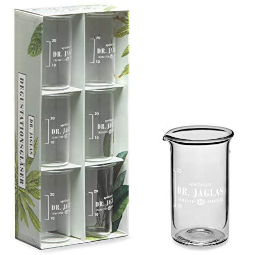 DR. JAGLAS Degustationsgläser Set mit Eichstrich / 6 Verkostungsgläser à 50 ml/Schnapsgläser in Labor-Optik/Chemie Shotgläser/Pinchengläser/Gläser Set Schnapsgläser Chemie
