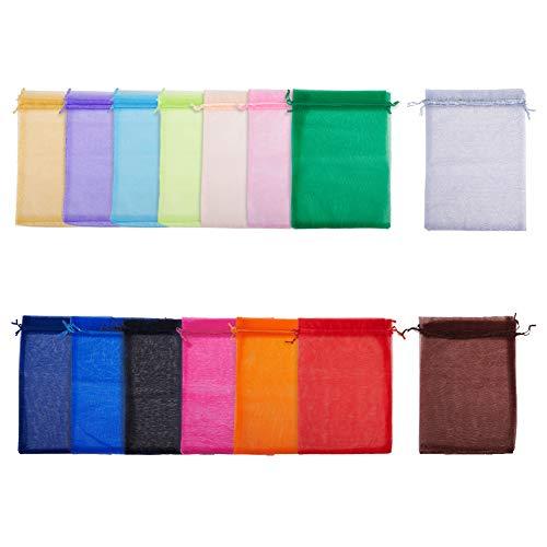 PandaHall Elite - Bolsas de organza grandes de 15 colores, 60 bolsas de regalo de organza transparente con cordón para regalos de Navidad, bodas, fiestas, regalos, 20 x 30 cm