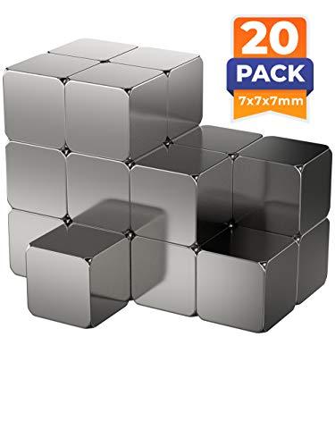 20 x Cubos magnéticos de neodimio | Imán/Imanes |7 x 7 x 7 mm | niquelados (NiCuNi) | Fuerza de sujeción (fza. sujec.): aprox~ 3 kg | 20 uds. Cubo magnético