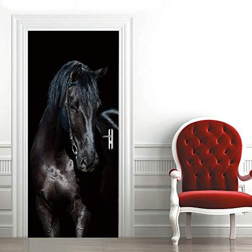 DFKJ Mustang Caballo Puerta Pegatina Sala de Estar Hotel Autoadhesivo Impermeable Papel Tapiz Pegatinas decoración del hogar murales Arte calcomanía A6 86x200cm