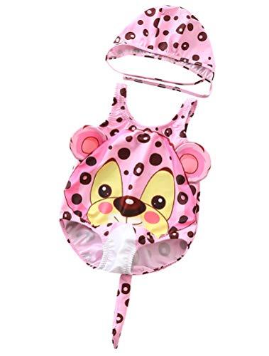 ARAUS Bambini Costume da Bagno Bimbi Tuta Intera Stampato Leopardo Neonati Nuoto Piscina Costume + Cuffia 2 Pezzi
