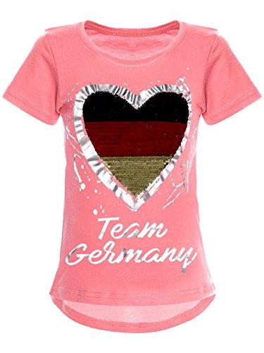 BEZLIT Deutschland Mädchen Wende-Pailletten WM 2018 Fan Fussball T Shirt 22512 Dunkelrosa Größe 152