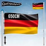 NAIZY Aluminium Fahnenmast 6,5 m mit Deutschland Fahne + Bodenhülse + Zugseil + Verschlusshaken + Abschlusskappe und Höhe in 5 verschiedenen Höhen variiert Werden