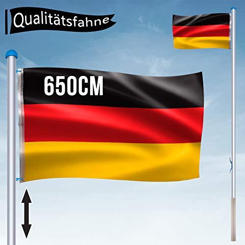 Aluminium Fahnenmast 6,5 m mit Deutschland Fahne + Bodenhülse + Zugseil + Verschlusshaken + Abschlusskappe und Höhe in 5 verschiedenen Höhen variiert Werden