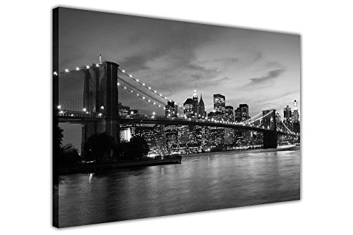 Canvas It Up Stampa da Muro su Tela del Ponte di New York City in Bianco e Nero