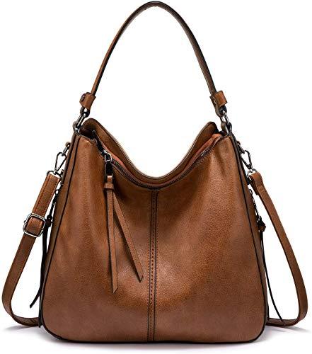 Realer Handtaschen Damen Lederimitat Umhängetasche Designer Taschen Hobo Taschen groß Mit Quasten Braun