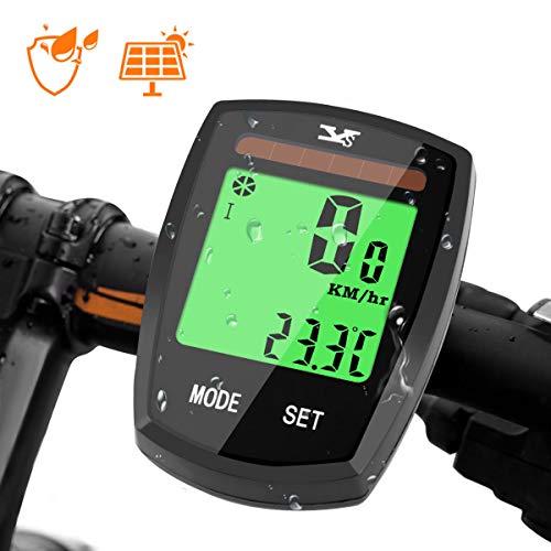 AODOOR Fahrradcomputer mit Sonnenenergie, Fahrradcomputer Drahtloser Wasserdichter Kilometerzähler Radcomputer, LCD-Hintergrundbeleuchtung Fahrradtacho Tachometer für Radsport (Upgrade Version)