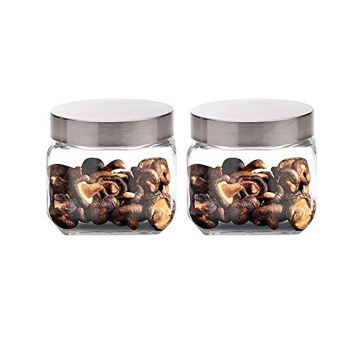 Candy Jar Storage Glass Latas selladas cuadradas con tapón de rosca de acero inoxidable Contenedor de almacenamiento de alimentos, Adecuado para accesorios de baño de cocina casera, 11CMx11CMx2 piezas