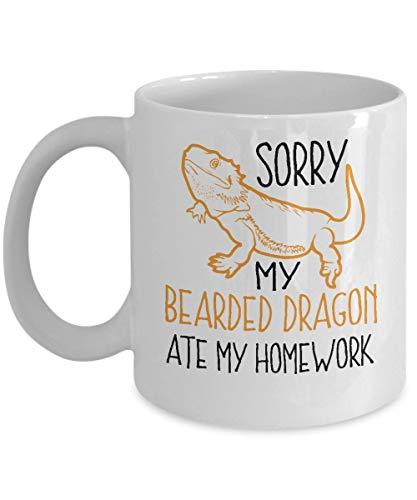 Taza de café del dragón barbudo - Comió mi tarea - Regalos de reptiles - Taza de cerámica de 11 oz