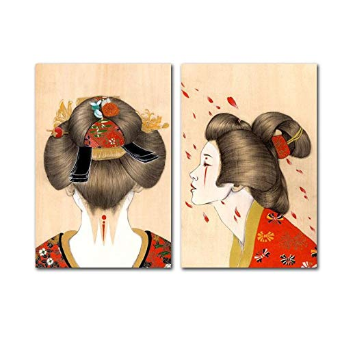 XWArtpic Poster et Impressions japonaises Vintage Decor Japan Kimono Girl Canvas Art Wall Pictures for Living Room Modern Home Decoration