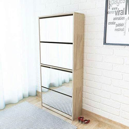 Mueble zapatero 4 cajones con espejo roble 63x17x134 cm Casa y jardín Productos del hogar Organización y almacenamiento Almacenamiento de ropa y armarios Zapateros y organizadores de calzado
