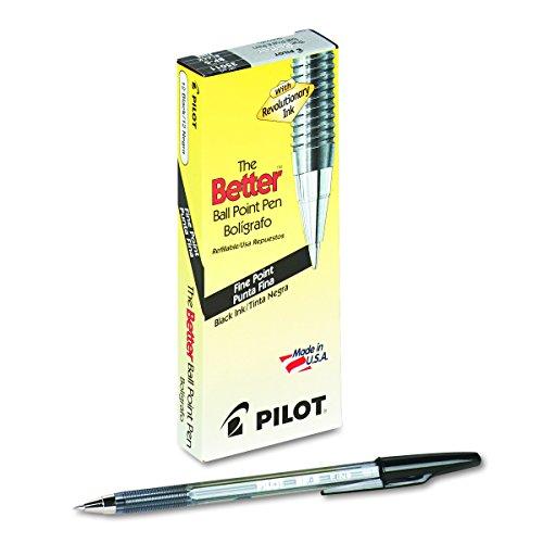 PILOT The Better Ball Point Pen Refillable Ball Point Stick Pens, Fine Point, Black Ink, 12-Pack (35011), 0.7mm