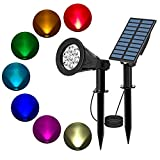T-SUN Solar Spotlights, Color-Changing 7 LED Waterproof Outdoor Garden Wall Lights, Auto-on/Off, 180