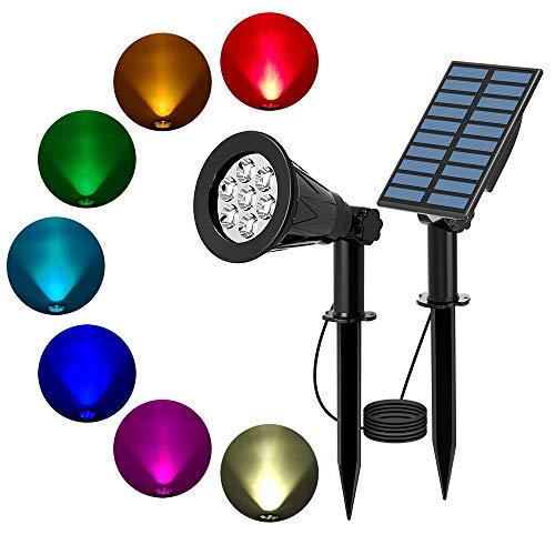 T-SUN 7 LED Solarstrahler Solarleuchten, 2-in-1 Wasserdicht Solar Gartenleuchten Solarlampe Außen Wandleuchte Wasserdicht mit 3M Kabel, 7 Farbwechsel Gartenbeleuchtung für Hof, Rasen, Wege