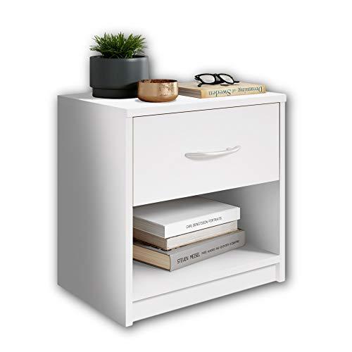 Stella Trading PEPE Nachttisch Weiß - Schlichter Nachtschrank mit einer Schublade passend zu jedem Bett & Schlafzimmer - 39 x 41 x 28 cm (B/H/T)