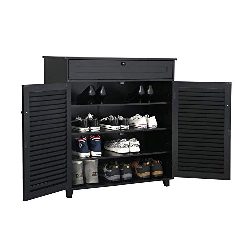 Yaheetech Shoe Cabinet Office Bathroom Storage Cabinet with 1 Drawer Adjustable Shelf Shoe Rack Pinter Stand for Home Office Black