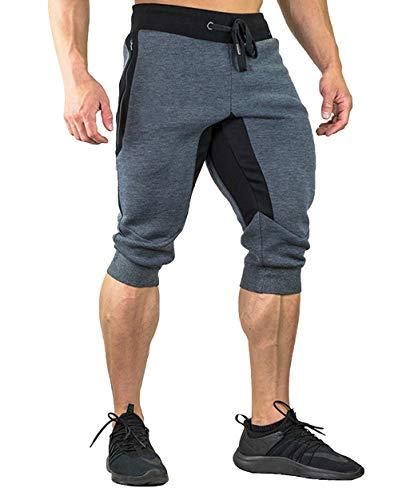 Gopune Men's Gym Bodybuilding 3/4 Capri Pants Workout Running Camping Summer Shorts (Deep Grey,32)
