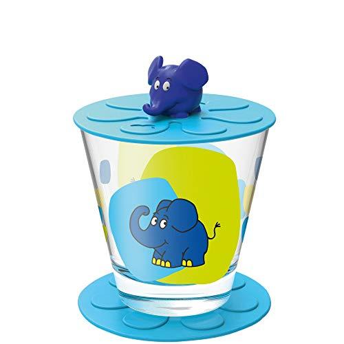 Leonardo Bambini Kinder-Glas Set, 1 Stück, spülmaschinengeeigneter Becher aus Glas, Deckel, Untersetzer BPA-frei, Elefant, 3-teilig 215 ml, 021455