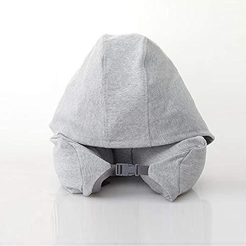 TRD-Latex Pillow U-förmiges Kissen Baumwolle Nackenkissen Kissen Mittagspause mit Kapuze Kissen Reiseflugzeug Kissen,Blue