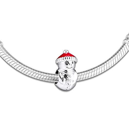 LILANG Pandora 925 Pulsera de joyería Natural se Adapta a Collares muñeco de Nieve Sombrero de Navidad Cuentas de Plata esterlina Encanto Mujeres Regalos DIY