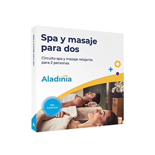 ALADINIA SPA y Masaje para Dos. Pack de experiencias originales para regalar. Cofre con circuito spa y masaje para dos, ideal para parejas o amigos. Sin caducidad, cambios gratis e ilimitados