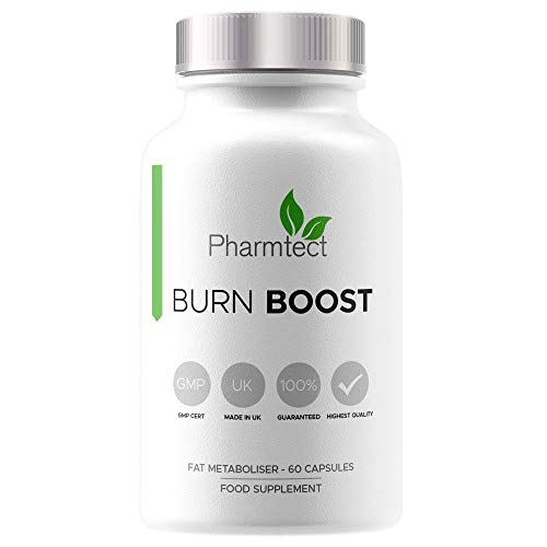 Pharmtect Burn Boost Supplement - Safe Slimming Pills for Weight Loss & Diet - for Energy & Metabolism Support - High Strength Green Tea, L-Carnitine Extracts - 60 Vegetarian Capsules Made in The UK