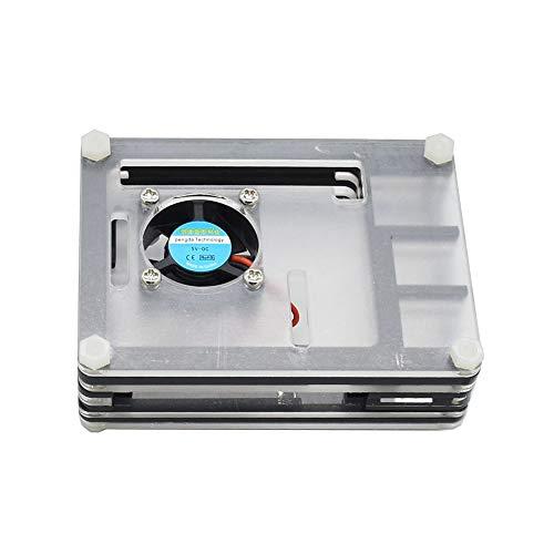 Mogzank para Raspberry Pi Estuche de AcríLico con Disipador TéRmico del Ventilador de RefrigeracióN Adaptador de Corriente 3A para Raspberry Pi 4 (Enchufe de la EU)