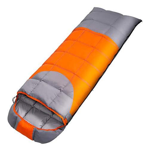 BEP Saco De Dormir De Plumón Envolvente, Impermeable Y Resistente Al Frío, Se Puede Empalmar Saco De Dormir para Adultos 3 Niveles De Llenado para Acampar Al Aire Libre, Senderismo,Naranja,1.8KG