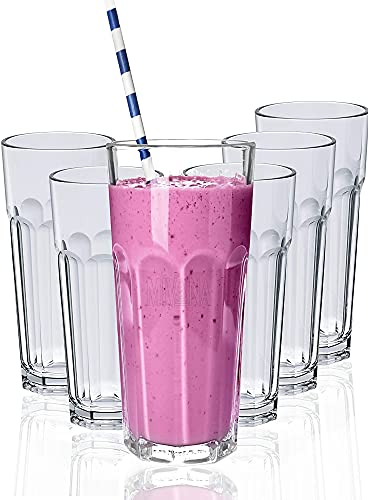 Mivana 400 ML Water Glass Tumbler Highball Glasses Clear Iced Tea and Glasses for Drinking Cocktail, Juice, Milkshake, Coke, Soda, Dishwasher Safe Pack of (5)