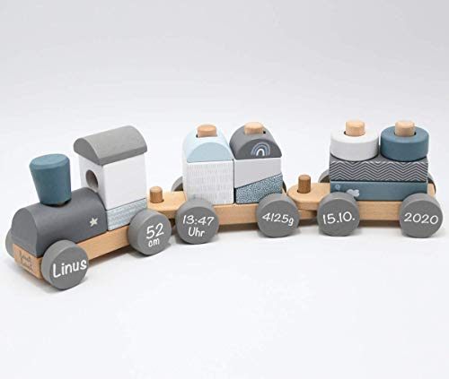 Babygeschenk zum 1. Geburtstag & Geburt Junge - Personalisierte Holzeisenbahn Holzzug mit Steckformen blau | Label-Label | Personalisiert mit Geburtsdaten und Namen