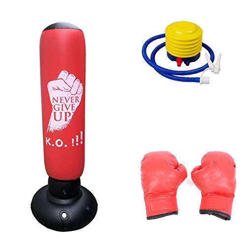 DUXIUYING Aufblasbarer Boxsack für Kinder, 160 cm, mit rotem Kinderboxhandschuh, Fitness Boxsack Freistehende schwere Boxsäcke Kick Trainingstasche