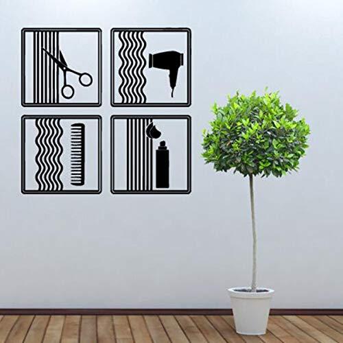 guijiumai Friseursalon Wandtattoo Schönheit Barbershop Kamm Schere Pinsel Haarschnitt Vinyl Wandaufkleber Für Wohnzimmer Moderne Wohnkultur75X75CM